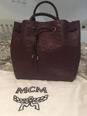MCM Sac seau bordeau-brun rouge