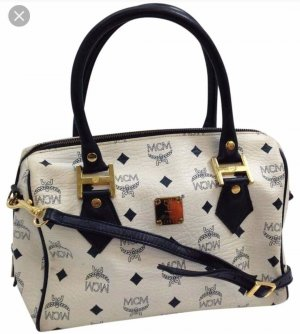MCM Handbag white-dark blue