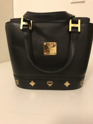 MCM Carry Bag black-gold-colored