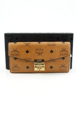 MCM Clutch cognac-schwarz Monogram-Muster Vintage-Look