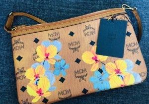 MCM Clutch Essential Floral Print Cognac