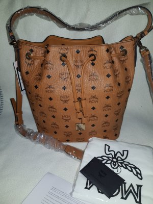 MCM Essential Visetos Original Drawstring Medium Cognac