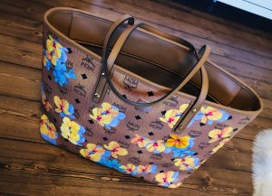 MCM Essentiell Flower Print Cognac Shopper