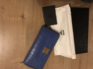 MCM Wallet dark blue-gold-colored leather