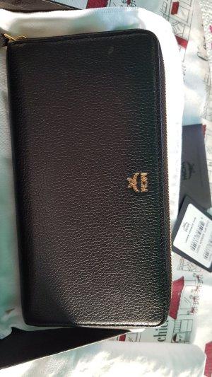 MCM Geldbörse, groß, schwarzes Leder mit ID Karte und Box