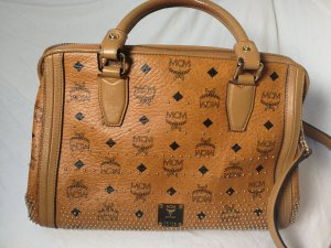 MCM Gold Visetos Bag Henkeltasche cognac Canvas
