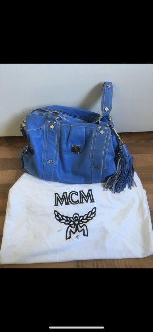 MCM Sac à main bleu acier