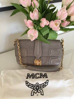 MCM Handbag grey-gold-colored leather
