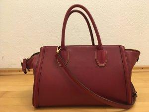 MCM Handtasche groß in dunkelrot, echtes Rindsleder