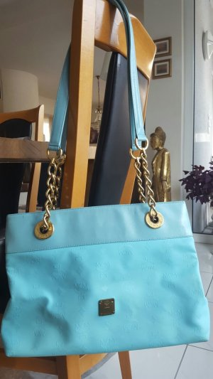 MCM Handbag light blue-gold-colored polyvinyl chloride