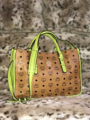 MCM Handbag neon green-cognac-coloured
