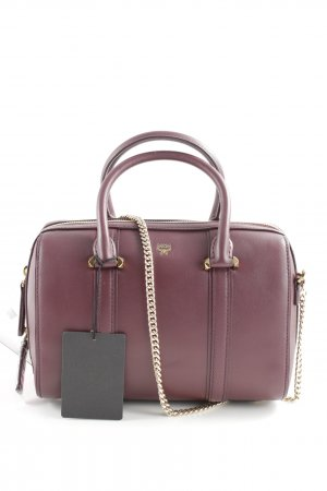 "MCM Borsa con manico ""Signature Smooth Leather Boston Small Rustic Brown"""
