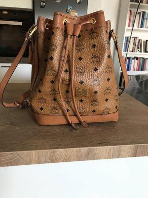 MCM Heritage Drawstring Bucket Bag Cognac