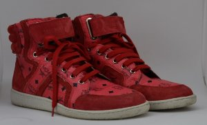 MCM High Top Sneaker neon red leather