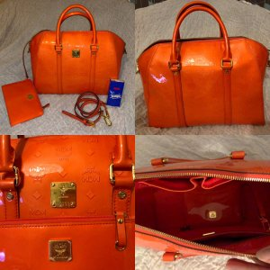 MCM Ivana Patent Large Bowler Bag