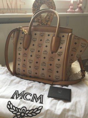 MCM Kathy Tote Medium Cream/Cognac ❤️Wie Neu