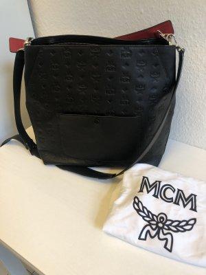 MCM Borsa sacco nero-rosso