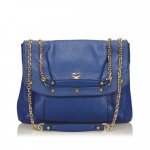 MCM Shoulder Bag blue leather