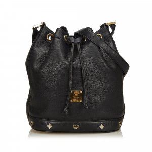 MCM Leather Drawstring Bucket Bag