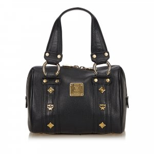 MCM Leather Gold Studded Handbag