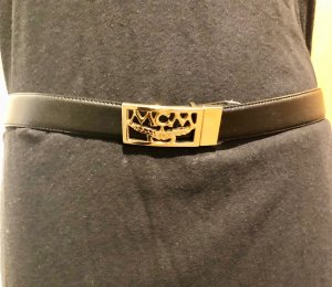 MCM Leather Belt black-gold-colored leather