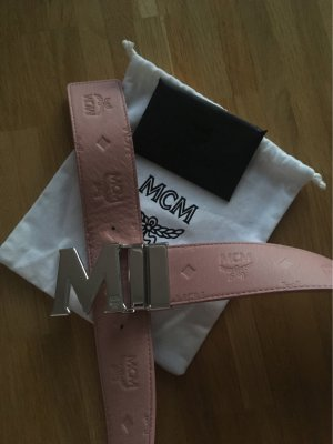 MCM Ceinture en cuir rose-argenté