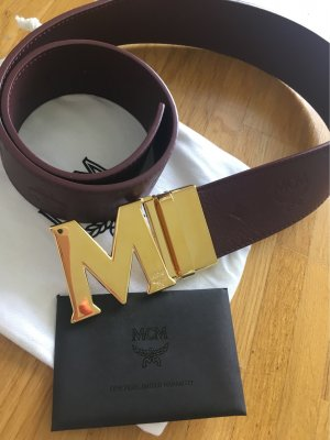 MCM Leather Belt brown red-gold-colored