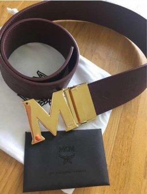 MCM Cintura di pelle marrone-rosso-oro