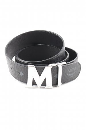 MCM Ceinture en cuir noir-gris motif à carreaux style mode des rues