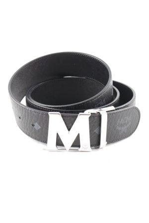 MCM Leather Belt black-grey check pattern street-fashion look