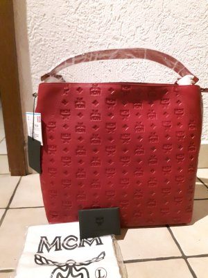 MCM Carry Bag purple-bordeaux leather
