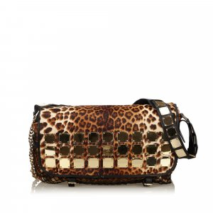 MCM Leopard Studded Shoulder Bag