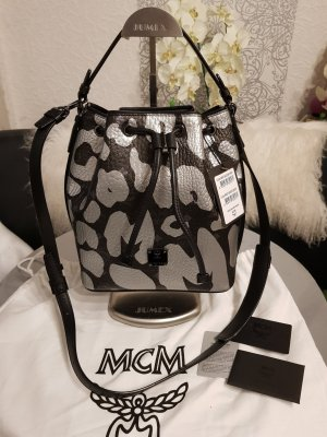 ea81fb85241f4 MCM Leopard Tasche Beuteltasche Drawstring NEU silber schwarz