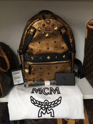 MCM Sac à dos doré-noir
