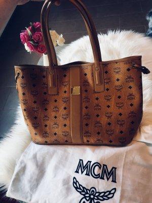 MCM Liz Visetos Shopper Medium Cognac