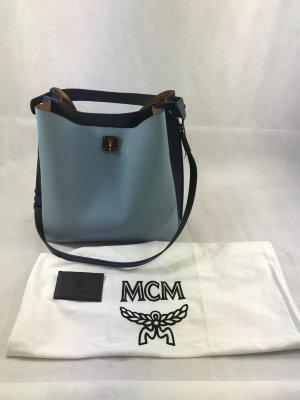 MCM Borsa sacco azzurro-blu scuro Pelle