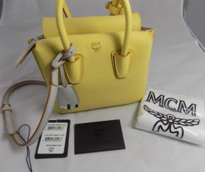 MCM Handbag yellow-light grey leather