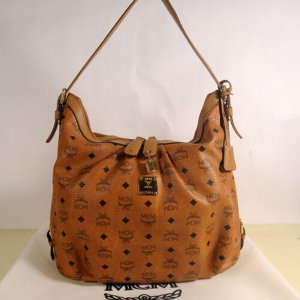 MCM Carry Bag bronze-colored leather