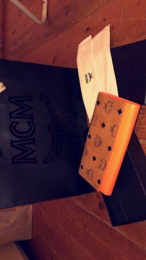 MCM Portefeuille marron clair-orange fluo