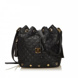 MCM Quilted Leather Bucket Bag
