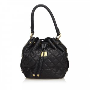 MCM Quilted Leather Drawstring Bucket Bag
