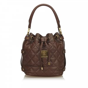 MCM Quilted Leather Drawstring Handbag