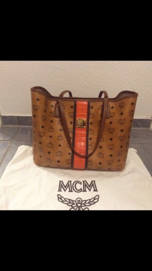 MCM Carry Bag bronze-colored-brick red leather