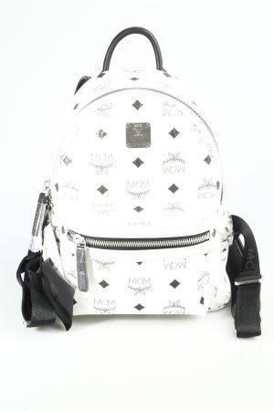 MCM Rucksack schwarz-weiß Monogram-Muster Street-Fashion-Look