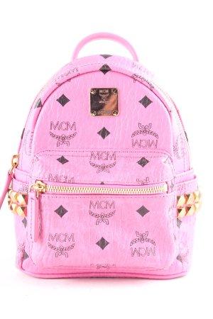 MCM Schulrucksack schwarz-rosa Street-Fashion-Look