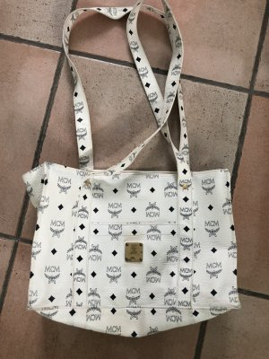 MCM Shopper Bag in weiß/dunkelblau