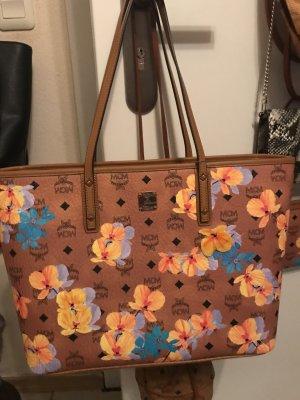 MCM Shopper / Handtasche Cognac mit Blumen NEU