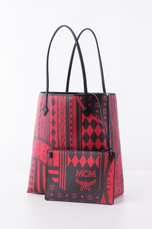 MCM Shopper black-dark red synthetic