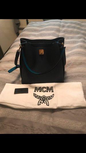 MCM Shopper blue-petrol leather