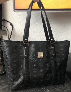 MCM Shopper black-steel blue synthetic